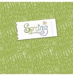 Spring is comingGarden Toolsplants pattern vector image