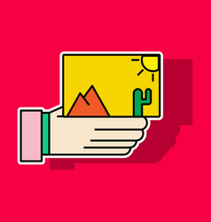 Sticker hand holds photos icon multimedia photo vector