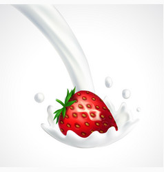 strawberry and milk splash vector image vector image