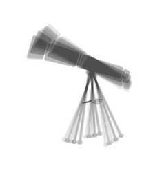 Telescope simple sign gray icon shaked at vector