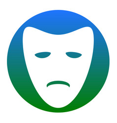 Tragedy theatrical masks white icon in vector