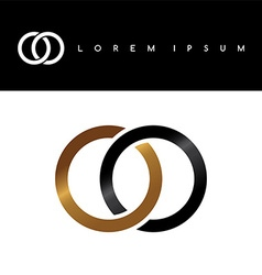 two circle overlapped linked logo logotype vector image