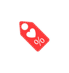 Valentines day sales tag with heart solid icon vector