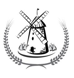 Wind mill emblem vector