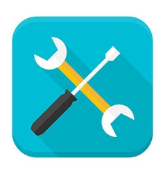 Wrench and screwdriver app icon with long shadow vector image
