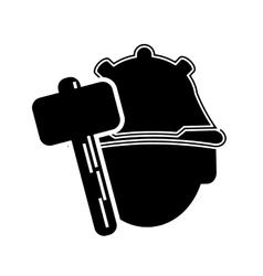 Construction worker and hammer icon vector