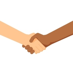 Two people shaking hands white and black people vector