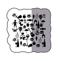 Sticker black silhouette set elements daily life vector