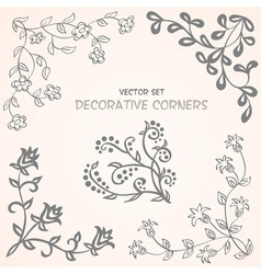 Decorative floral corners set vector