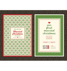Christmas theme wedding invitation card template vector