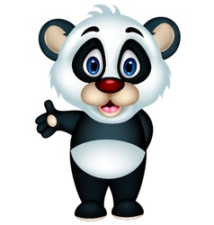 Cute cartoon panda posing vector