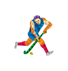 Field hockey player running with stick low polygon vector