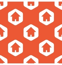 Orange hexagon home pattern vector