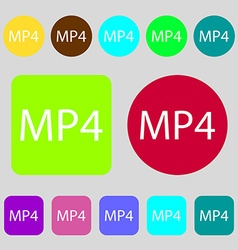 Mpeg4 video format sign icon symbol 12 colored vector