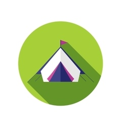 Tent flat icon with long shadow vector