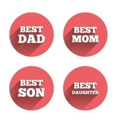 Best mom and dad son daughter icons vector
