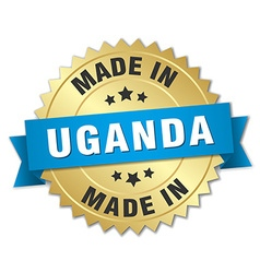 Made in uganda gold badge with blue ribbon vector