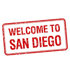 Welcome to san diego red grunge square stamp vector