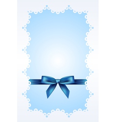 Blue background with lace and ribbon vector image