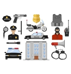 Police Decorative Flat Icons Set vector image