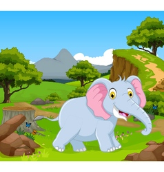 Funny elephant in the jungle vector