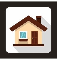 Small cottage icon flat style vector