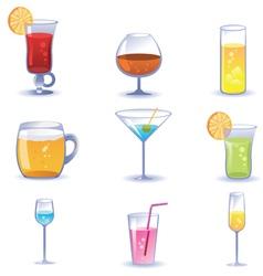 Set of summer cocktails vector
