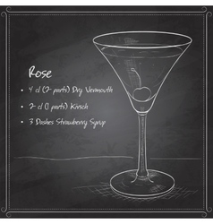 Alcoholic cocktail rose on black board vector