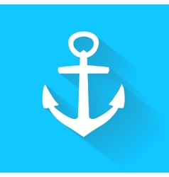anchor icon in flat style with long shadow vector image vector image