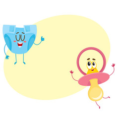 baby dummy pacifier and diaper nappy characters vector image
