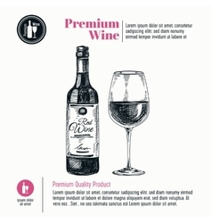 background with hand drawn wine bottle and vector image vector image