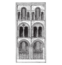 Bays of choir architecture of cathedrals in vector