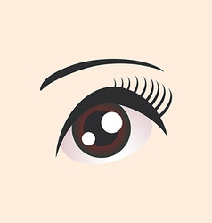 Beautiful brown female eye on beige background vector image