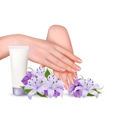 Beautiful young female hands with a cream and vector