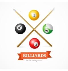 Billiard balls concept with cue vector