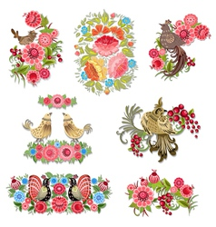 Bird flower set vector