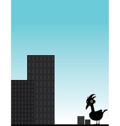 Bird in front of city vector