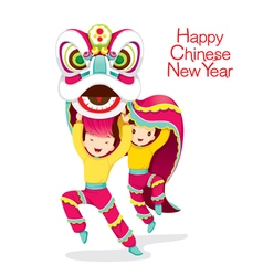 Boys with lion dancing vector