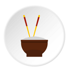 Brown bowl of rice with pair of chopsticks icon vector