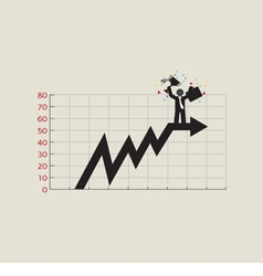 Businessman standing on top of growing chart vector
