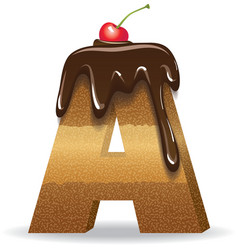 Cake letter A- birthday font vector image vector image