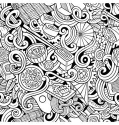 Cartoon hand-drawn doodles of japanese cuisine vector