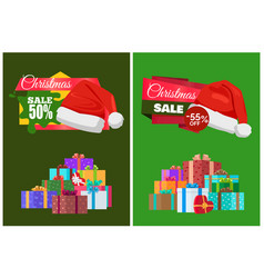 Christmas discount with hot prices advertisement vector