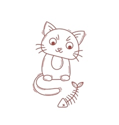 Cute cat character Satisfied fed kitten vector image vector image
