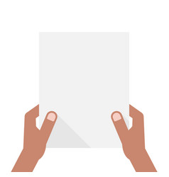 dark-skinned hands holding sheet of paper vector image