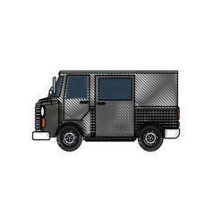 Drawing truck postal delivery transport design vector