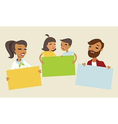 Family holding blank cards vector image vector image