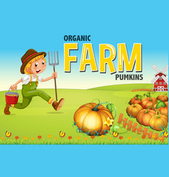 Farmer and pumpkin farm vector