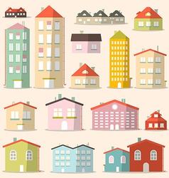 Flat Design Paper Houses - Buildings Set vector image vector image