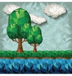 Landscape low poly design vector